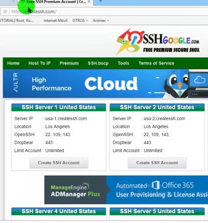mejores paginas para crear cuentas ssh createssh